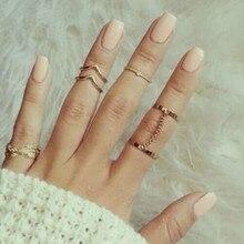 New fashion 6pcs / lot punk style gold stack midi finger ring ring charm charm leaf set suit female jewelry gift