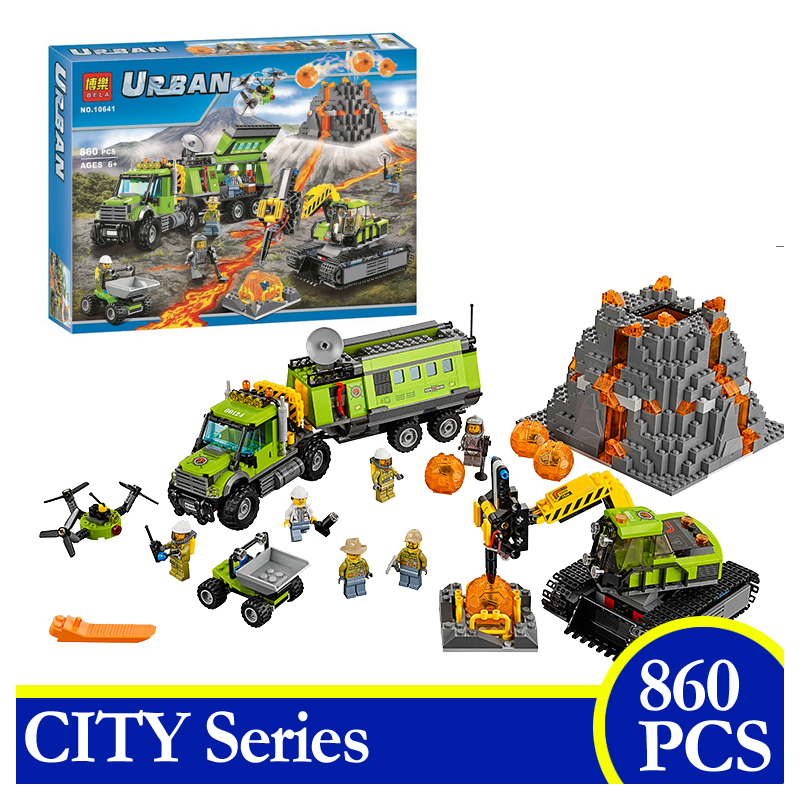 10641 860PCS City Volcano Exploration Base Geological Prospecting Building Block Brick Children Gift Compatible With LEPIN 60124 lepin 02012 city deepwater exploration vessel 60095 building blocks policeman toys children compatible with lego gift kid sets