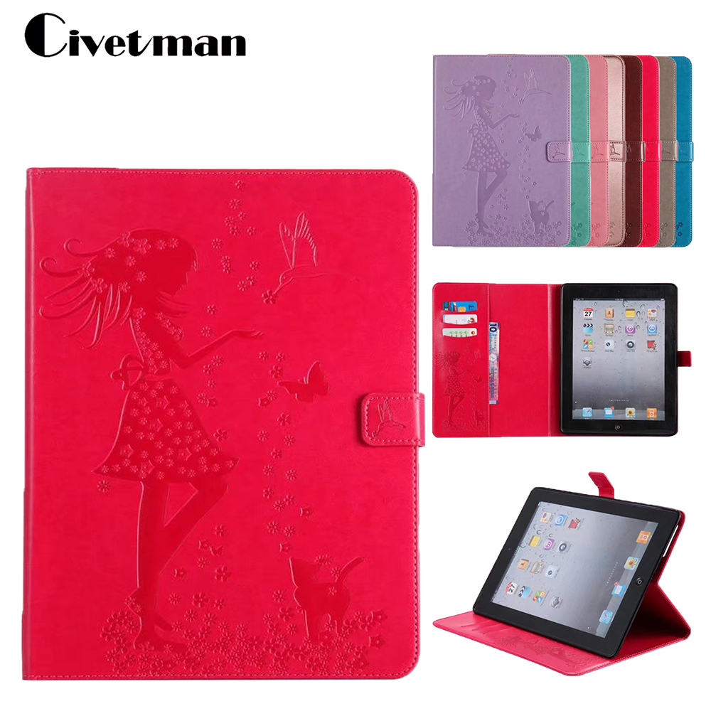 PU Leather Flip Stand Magnetic Wallet Card Slots Feather Case For iPad 2 iPad 3 iPad 4 Tablet Cover For Apple Ipad 2 3 4 Cases