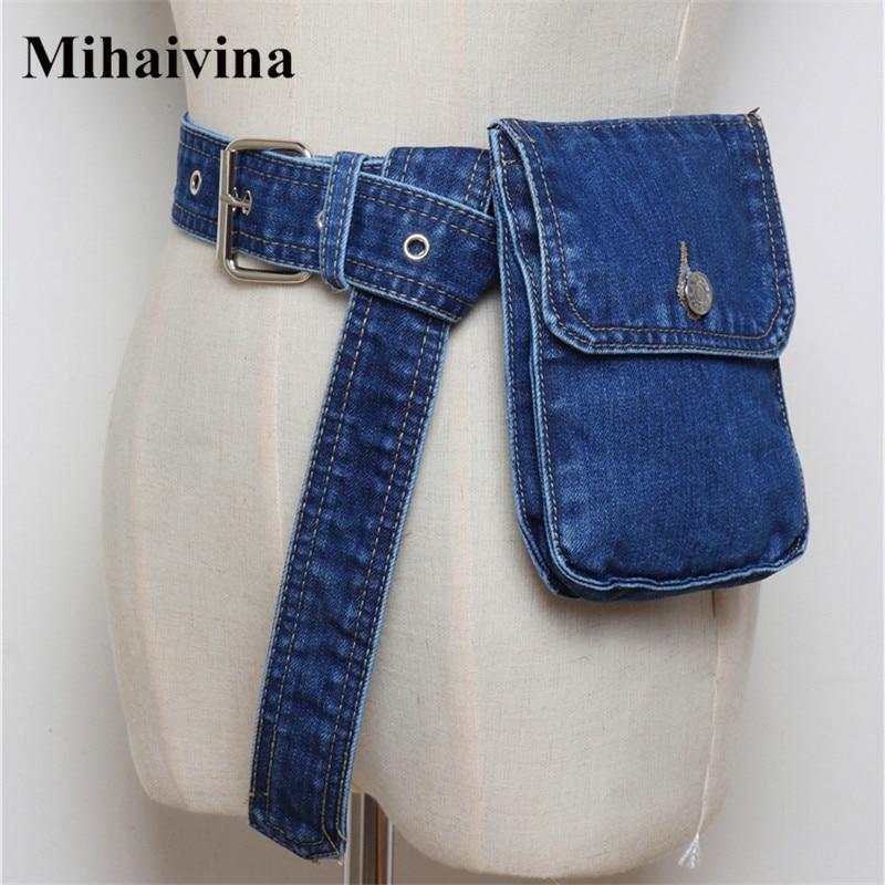 Mihaivina Waist Bag Women Denim Fanny Pack Lady Handbag On The Belt Money Bags Canvas Waist Packs Pocket Travel Pouch Bag Bolsa