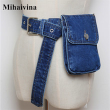 Mihaivina Waist Bag Women Denim Fanny Pack Lady Handbag On the Belt Money Bags Canvas Packs Pocket Travel Pouch Bolsa