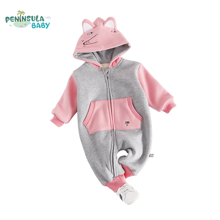Winter Newborn Infant Baby Girl Boy Clothes Cute 3D Fox Ear Rompers Warm Bebes Jumpsuit Long Sleeve Thicked Clothes newborn winter cartoon car baby rompers infant soft cotton thick baby boy girl jumpsuit long sleeve fleece ropa bebes costume