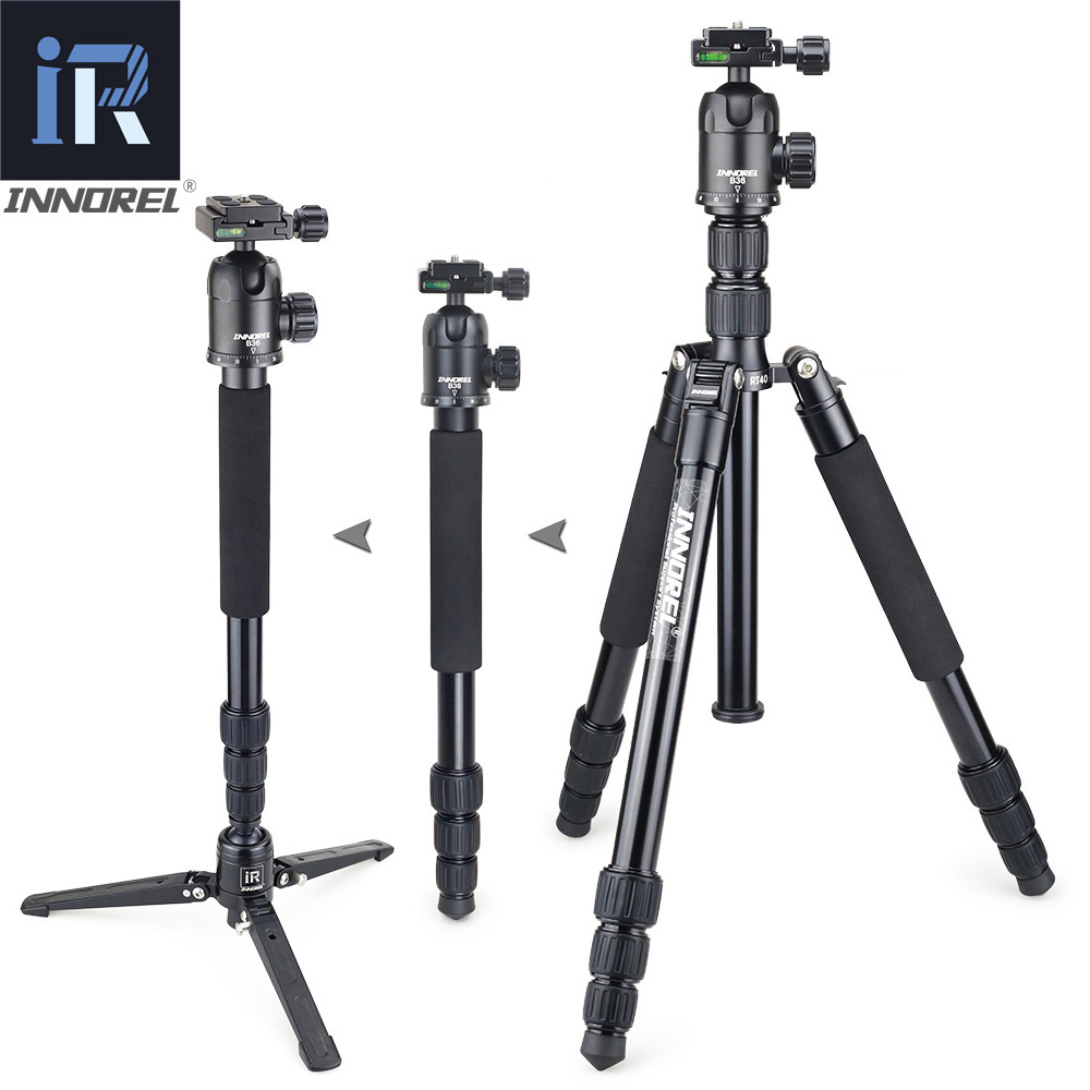 INNOREL RT40 Aluminium Alloy Camera Tripod Video Monopod Professional Travel Compact Tripod with Quick Release Plate