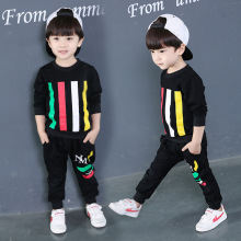 Children Clothing 2018 New Casual Male Baby Autumn Children's Color Bar Two Sets Of Clothes + Pants
