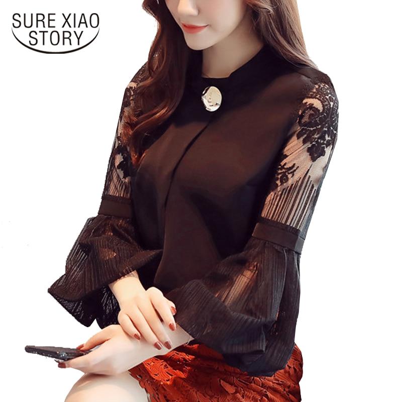2017 new autumn lantern sleeve women's clothing sexy chiffon women   blouse     shirt   casual loose stand neck women tops blusas D79 30