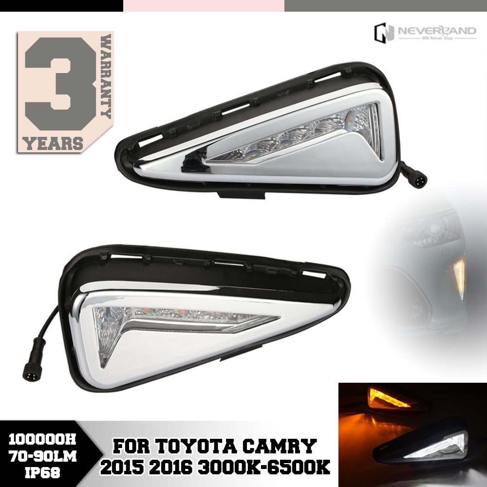 ФОТО For Toyota Camry 2015 2016 LED Daytime Running Lights DRL Turn Signal Fog Lamp Car Styling Amber White D15