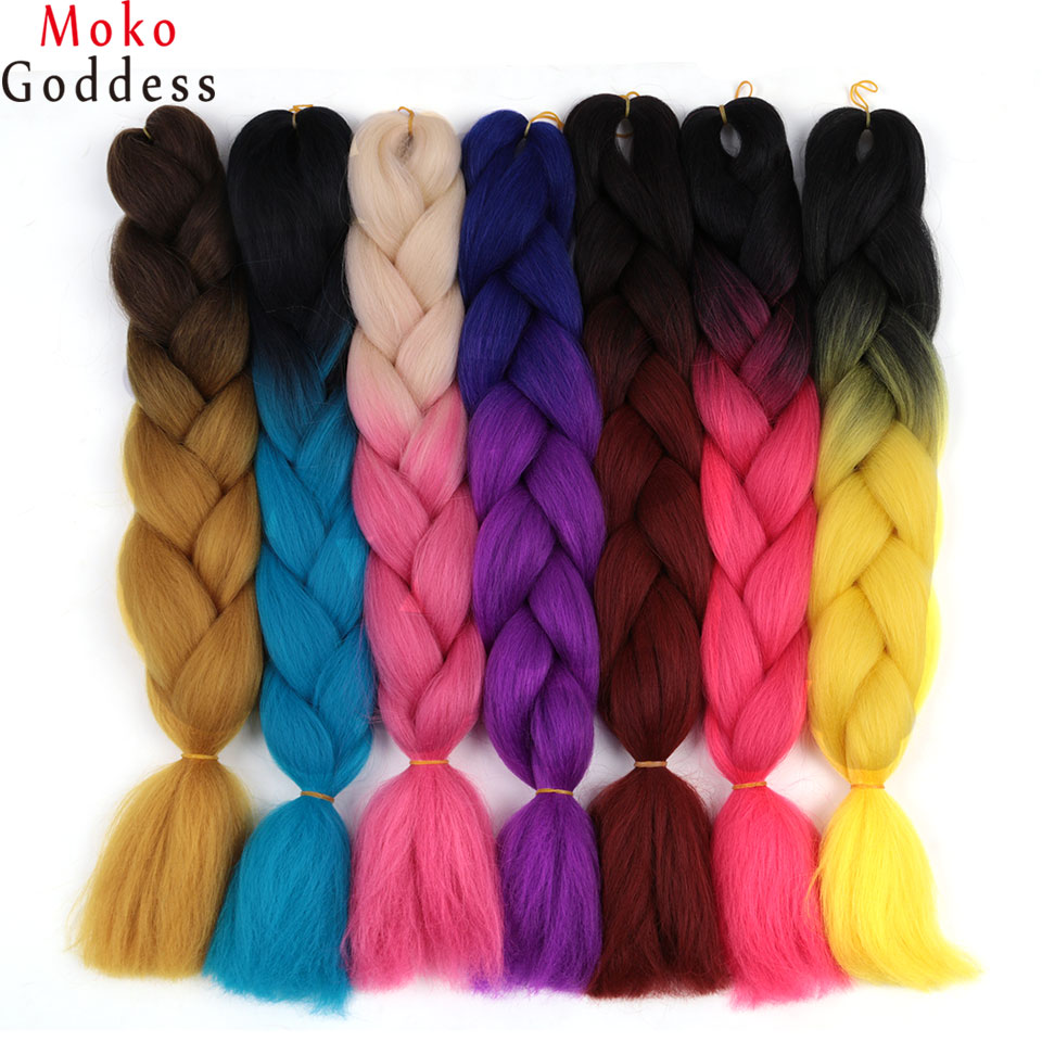 Mokogoddess Ombre Kanekalon Hair Two Tone Three Tone 24 Inch Synthetic Hair Extensions 100g/pack 90 Colors To Choose We Take Customers As Our Gods Hair Braids Jumbo Braids