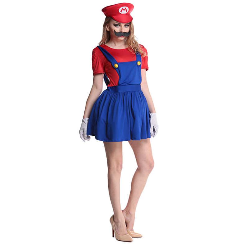 ליל כל הקדושים סופר מריו Luigi Bros תלבושות נשים סקסי שמלת שרברב תלבושות למבוגרים מריו Bros Cosplay תלבושות תחפושת