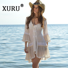 XURU new summer dress womens solid color sexy fringed lace stitching beach garden collar white casual