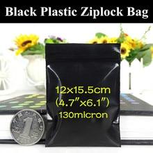 100pcs 12×15.5cm (4.7″x6.1″) Soft Black Zip Packaging Bag Light-proof Fishing Tolls/Hooks Anti-tarnish Black Gift Storage Pocket