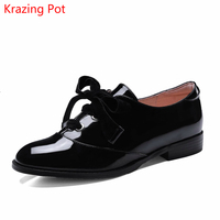 2018 Fashion Thick Heel Brand Shoes Round Toe Office Lady Shoes Runway Crystal Lace Up Lazy