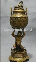 bi00815 12 Chinese Bronze Folk Vajra Japan God Statue Up Dragon Incense Burner Censer