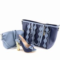 Beautiful D.blue women pumps and two big bag design african shoes match handbag set for dress V46 2