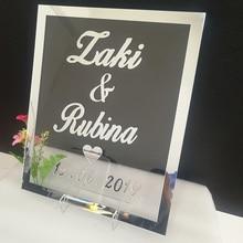 Персональное свадебное Имя Зеркало акриловая рамка названия добро пожаловать гости знаки слова Свадебная вечеринка Декор пользу
