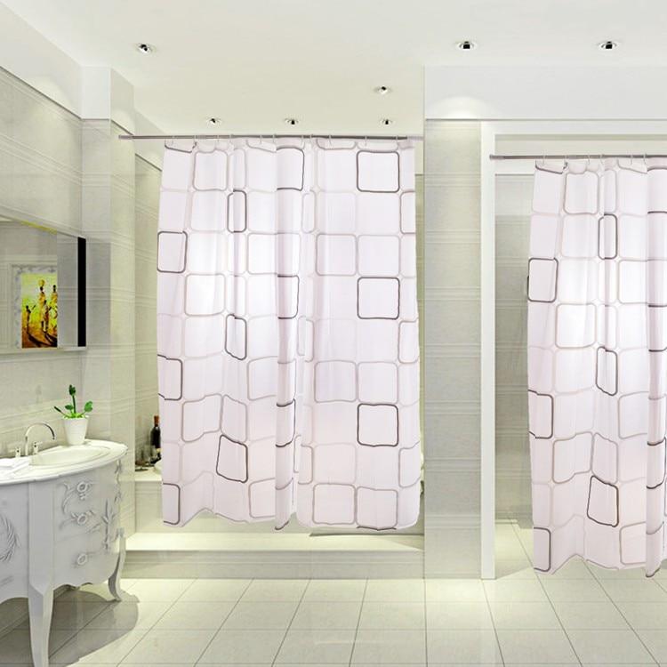 variety sizes New PEVA Shower Curtain With 12 Hooks Black white Grid ...