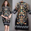 2015 New Fashion Retro Flower Print Dress Vintage Slim Elegant Dress Women Work Wear Casual Spring Autumn Dress Vestidos HJW024