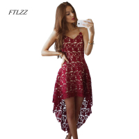 New Women Sexy Slim V Neck Spaghetti Strap Lace Dress Vintage Fashion Summer Party Dress