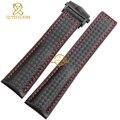 Couro pulseira pulseira pulseira vermelho costurado mens relógios de pulso pulseira dobrável fivela 20 mm 22 mm fibra de carbono de cinto