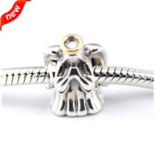 925 Sterling-Silver-Jewelry Charm Divine Angel with 14K Gold DIY Fits Bracelets Charms Beads for Jewelry Making FL305K