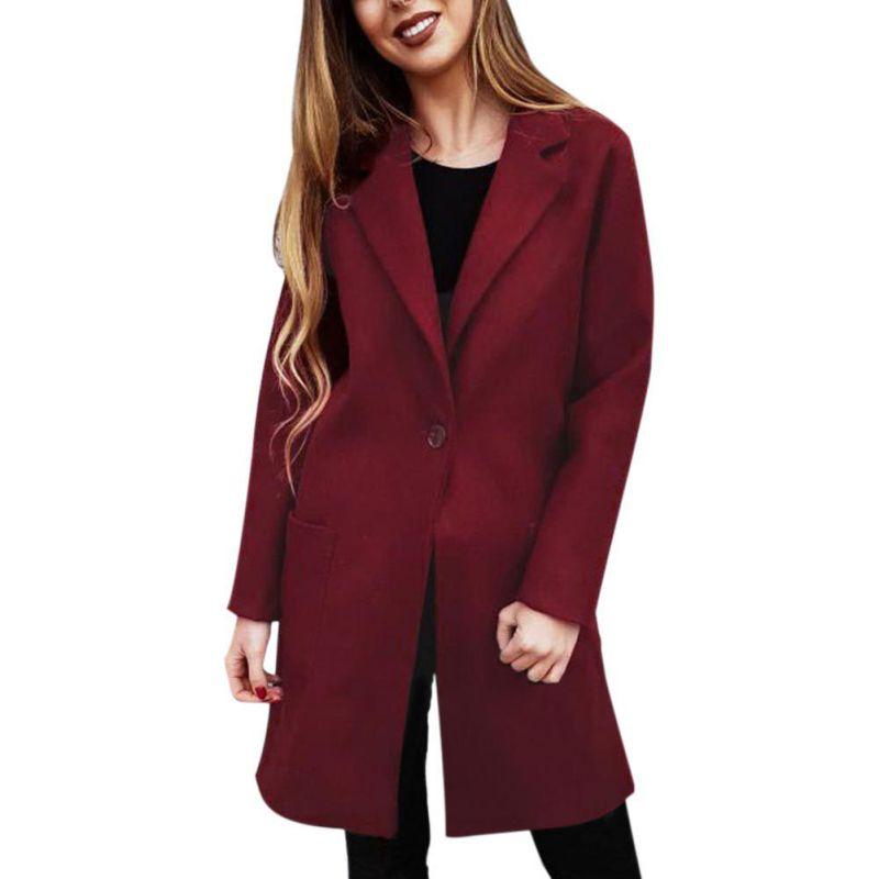 Pink Wine Red   Trench   Coat Women Sexy Autumn Winter Coat Fashion Slim Bodycon Wool Coats Turn-down Collar Windbreaker L3