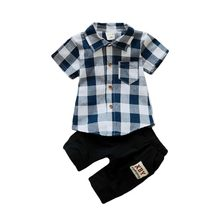 цена на 2020 Summer Children Boy Clothing Sets Baby Boy Clothes Sets Short Sleeve Tops+Pants Infant Boys Fashion Tracksuit Set