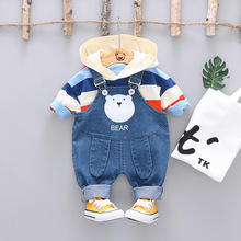 New 2019 Baby Boys Girls Clothing Sets Toddler Infant Clothes Suits Hooded T Shirt Bib Pants Kids Children Costume Kids Suit