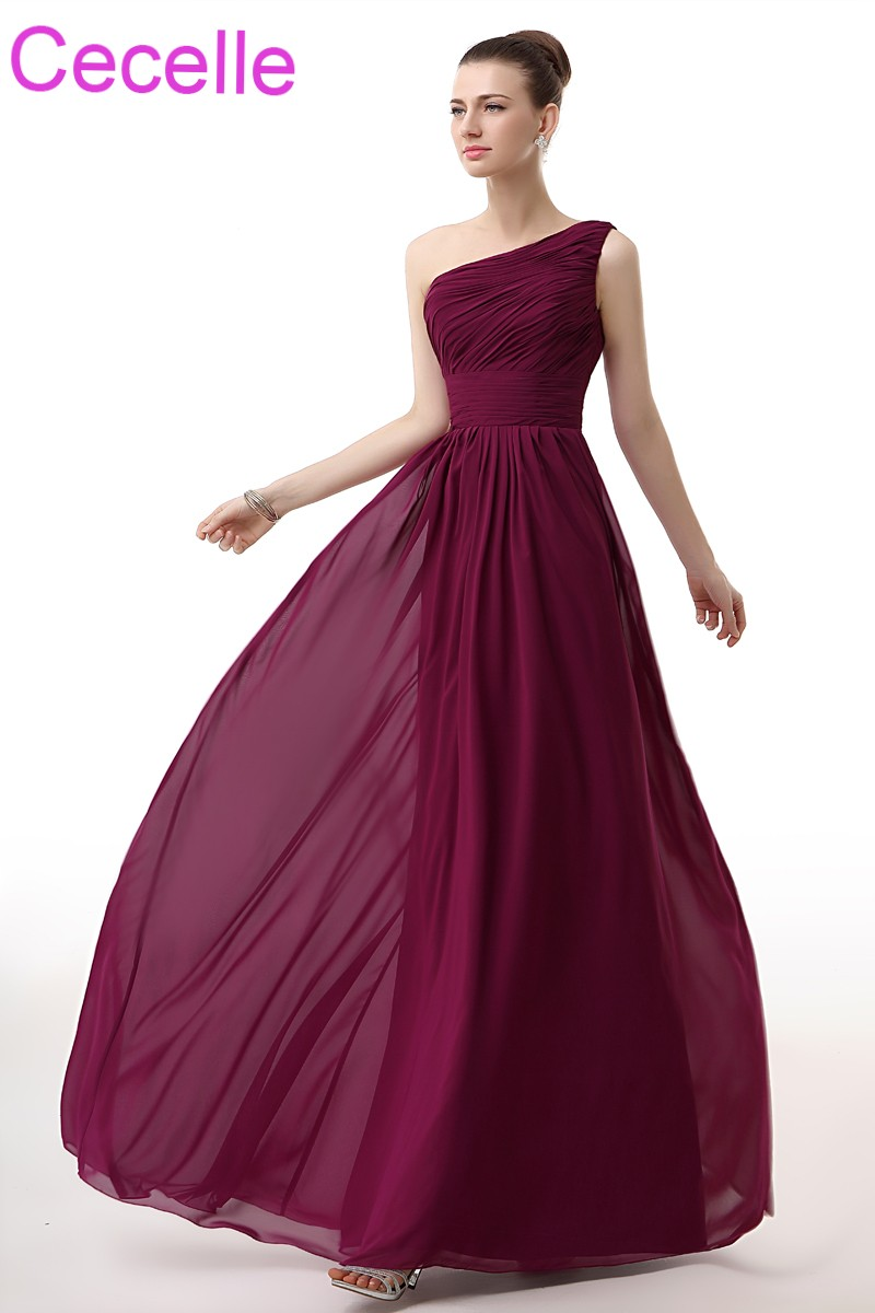 Purple Long Beach Bridesmaid Dresses 2018 One Shoulder A Line Ruched Chiffon Wedding Party Dress Custom Maids Of Honor Dres