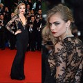 Red Carpet Dresses 2017 Sheath Deep V-neck Long Sleeves Floor Length Black Tulle Lace Long Famous Imitation Celebrity Dresses