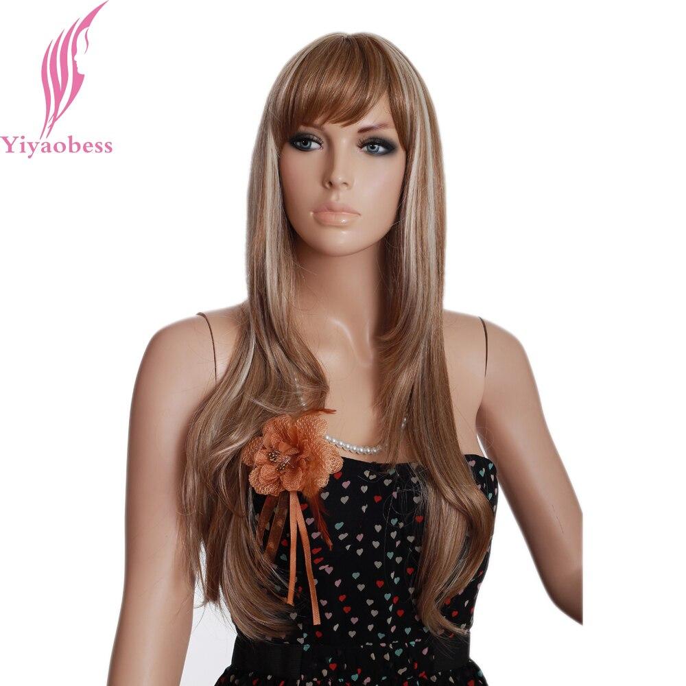 Yiyaobess 26 дюймов подчеркивает на волосы длинные прямые-блондинка, коричневый Ombre Искусственные парики для Для женщин японский Волокно синтети...