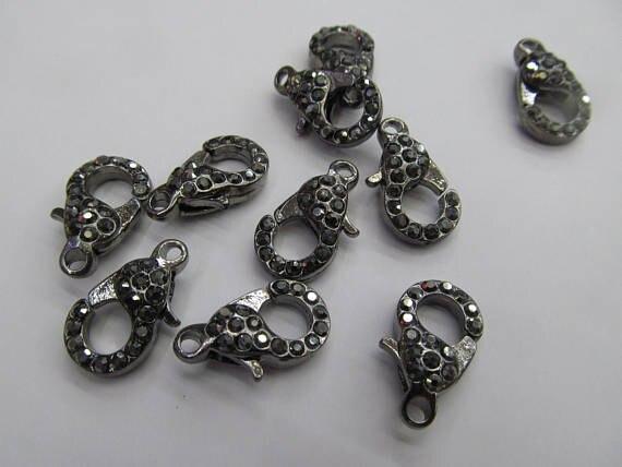 Gros 50 pcs fermoir pavé Micro cristal pavé diamant fermoirs bijoux fermoir Gunmetal argent Rose or hématite bijoux fermoirs 12- - 4