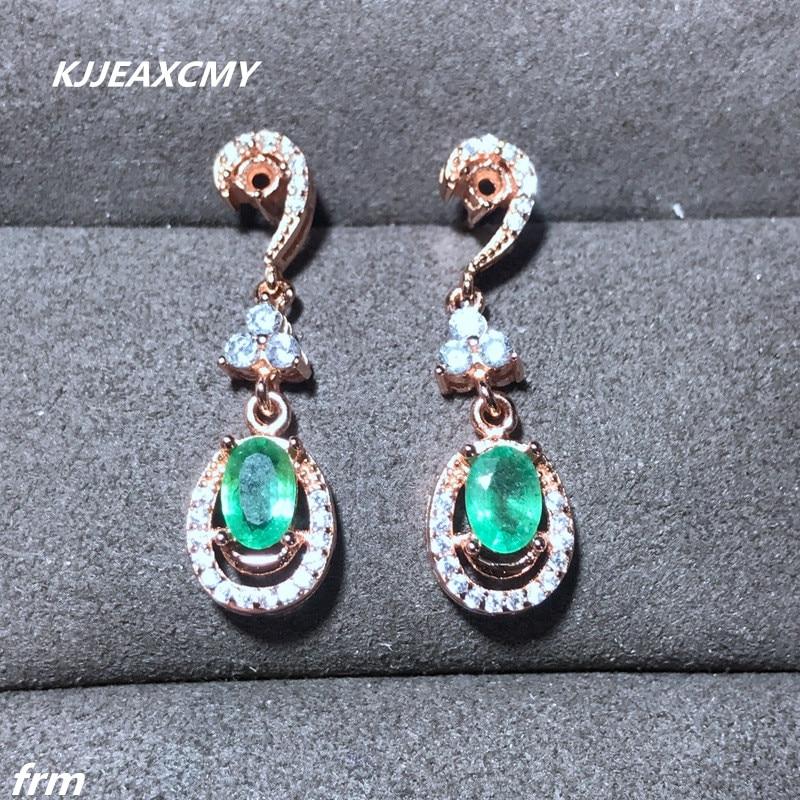 KJJEAXCMY Fine Jewelery 925 sterling silver female earrings earrings beautiful color permeable natural emerald