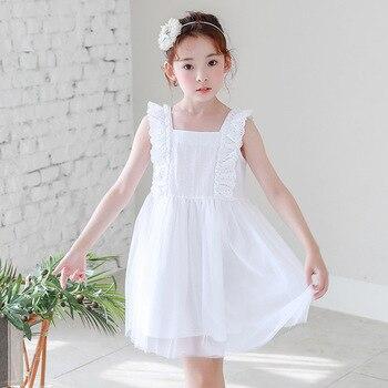 0ab85b4a8 Vestido de fiesta de encaje blanco para Niñas Grandes y ropa de bodas para  niños vestido de princesa de malla para niñas pequeñas verano 2018 nuevo  vestido