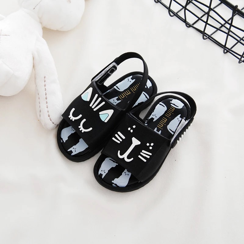 Mini Melissa 4 Color Cats Girls Jelly Sandals 2018 New Children Shoes Baby Sandals Girls Melissa Beach Sandals Comfortable Shoes
