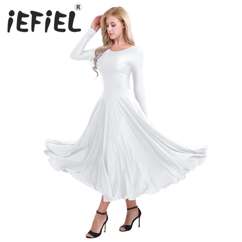 New Arrival Women Adults Polyester Round Neck Long Sleeves Loose Fit Liturgical Praise Dance Performance Dancing Costumes Dress
