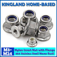 M4 M12 DIN6923 Nylon Insert Lock Nuts With Flange 304 Stainless Steel Fasteners DIY Hardware For