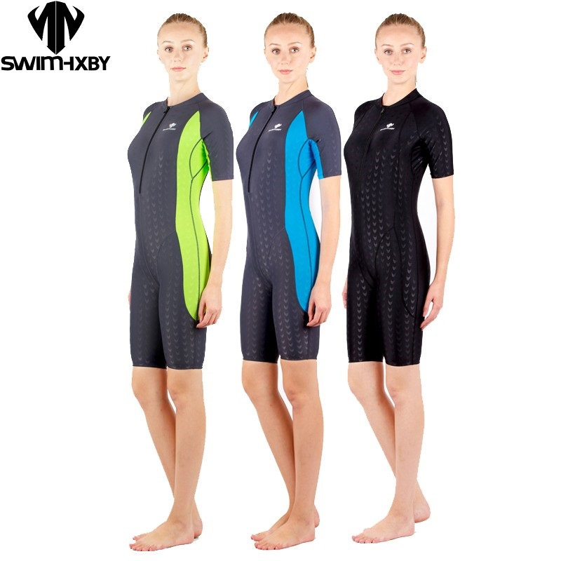 HXBYswimsuit competition swimsuits knee length female swimwear women arena swimming competitive plus size racing suit shark