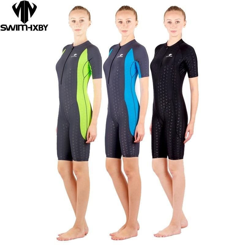Hxbymaillot de bain compétition maillots de bain genou longueur maillot de bain pour femme femmes arena natation compétitif grande taille course costume requin nouveau
