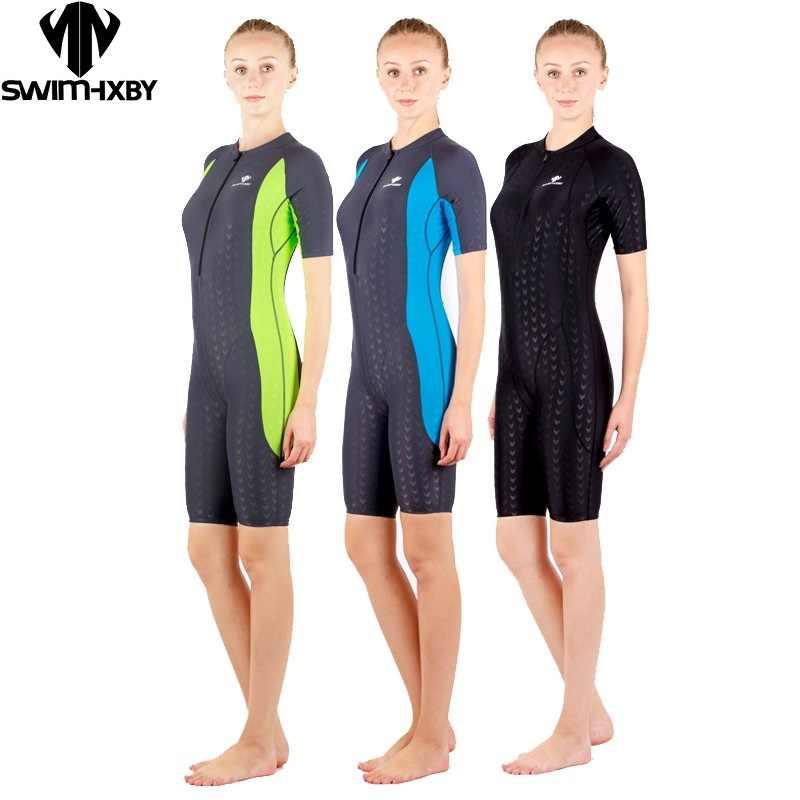 a72e5071dec4a Hxbyswimsuit конкурс купальников до колен женские Купальники Женщины арена  для плавания конкурентоспособная Большие размеры гоночный костюм