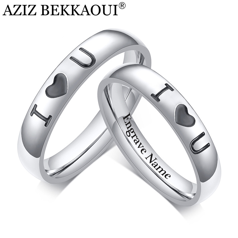 Couple Rings Engagement Jewelry Stainless-Steel I-Love-You Women Personalized Name
