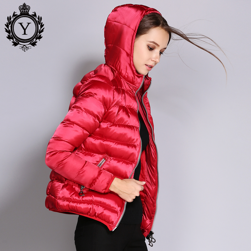 COUTUDI 2018 Women Jackets Autumn Winter Coat Red Short Hooded Jacket Cotton-Padded Female   Parkas   High Quality Women's Clothing