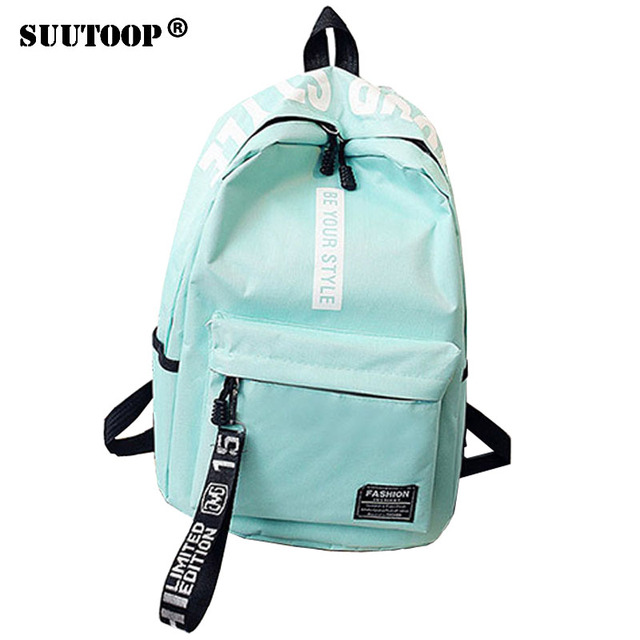 New 2019 Women Girls Backpack Preppy Style Nylon Backpacks letter School  Bags For Teenagers Girl mochila db79e101bc