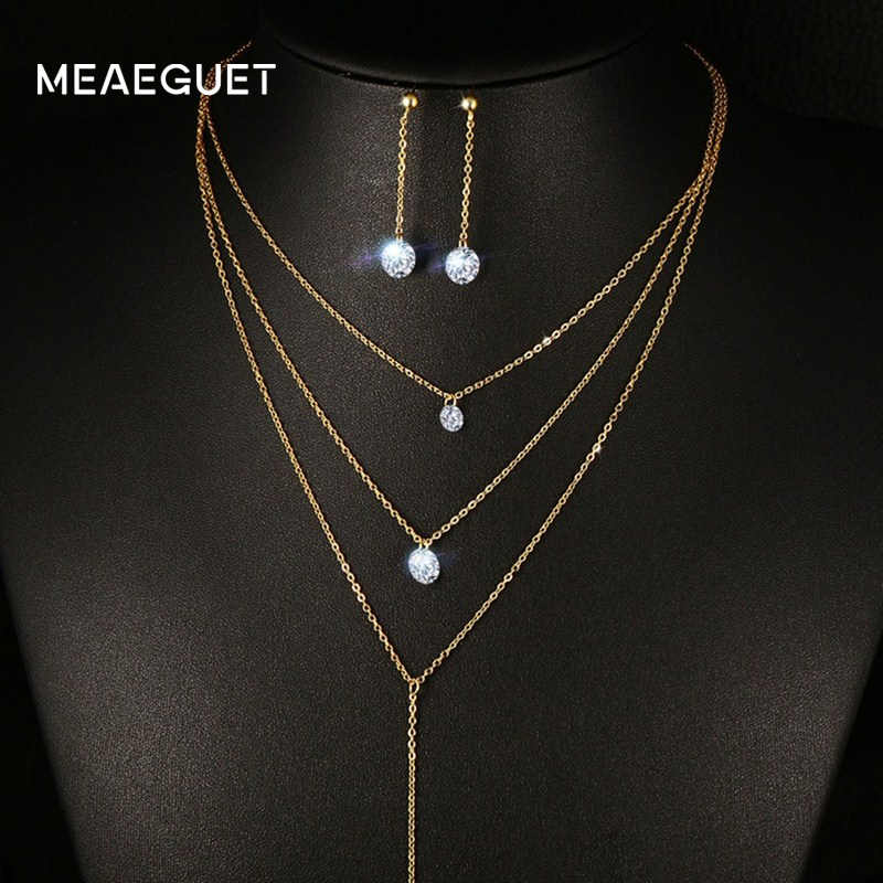 Meaeguet Layered CZ Long Necklace Jewelry Sets For Women Stainless Steel Bar CZ Drop Earring + Chain Necklace Jewelry Set