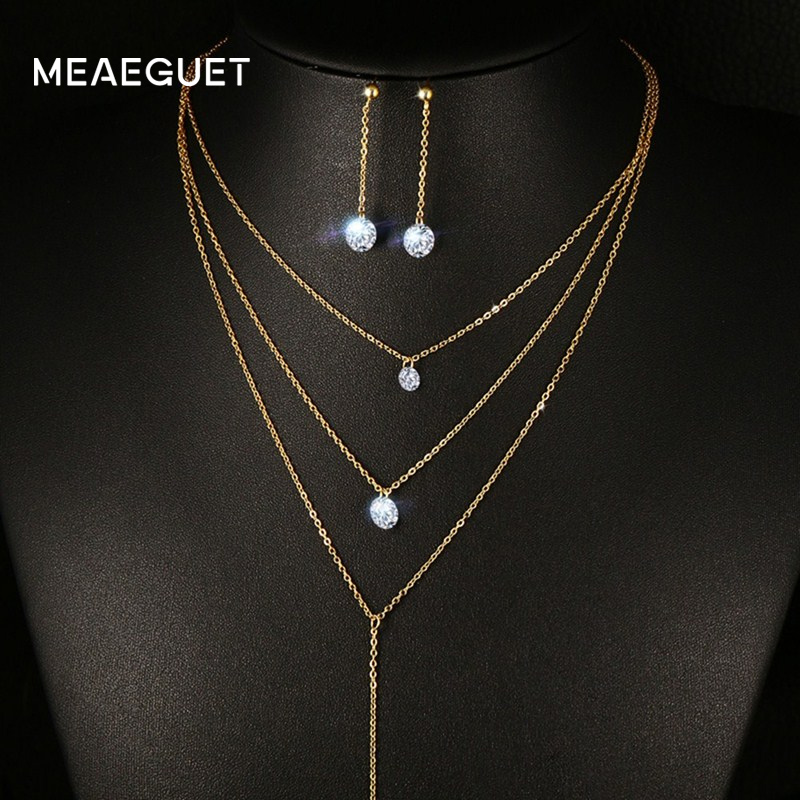 Meaeguet Layered CZ Long Necklace Jewelry Sets For Women Stainless Steel Bar CZ Drop Earring + Chain Necklace Jewelry Set цена