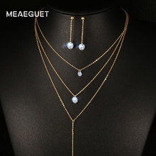 Meaeguet Layered CZ Long Necklace Jewelry Sets For Women Stainless Steel Bar CZ Drop Earring + Chain Necklace Jewelry Set(China)