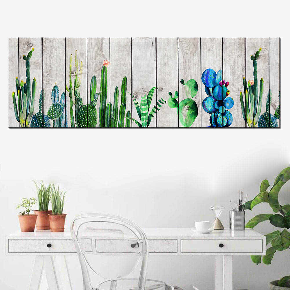Abstract Modern Animal Posters Blue Fish Wood Grain Canvas Painting Green Cactus Plant Wall Art Pictures for Home Decor Unframed