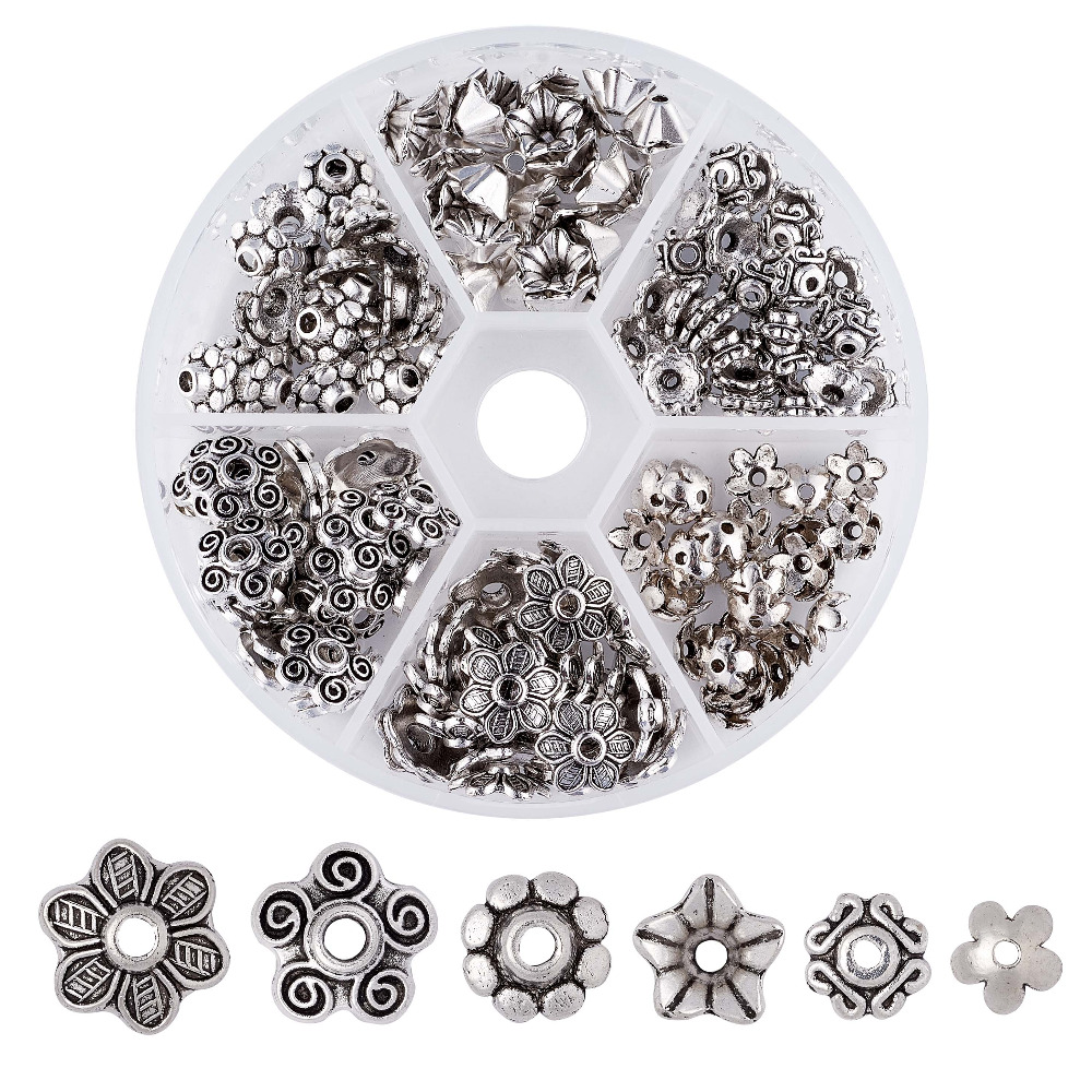 Pandahall 180pcs/box Metal Mix Flower Bead Caps Vintage Filigree Torus DIY Jewelry Making Bracelet Necklace Findings Accessories title=
