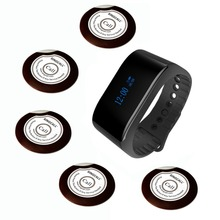 SINGCALL queue system waiter caller 1 waterproof watch receiver and 5 buzzer buttons for coffee or tea house,restaurants
