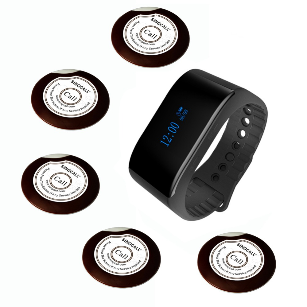 SINGCALL queue system waiter caller 1 waterproof watch receiver and 5 buzzer buttons for coffee or tea house,restaurants wireless pager system 433 92mhz wireless restaurant table buzzer with monitor and watch receiver 3 display 42 call button
