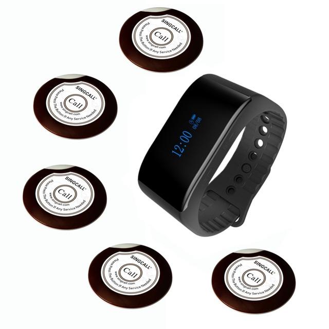 Singcall fila sistema de chamada garçom 1 à prova d' água receptor relógio e 5 botões de campainha para o café ou casa de chá, restaurantes