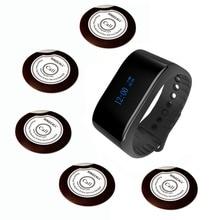 Singcall wachtrij systeem ober caller 1 waterdicht horloge ontvanger en 5 buzzer knoppen voor koffie of thee huis, restaurants